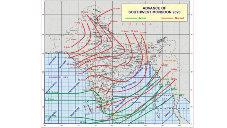 Southwest Monsoon advances into some more parts of South Interior Karnataka and Tamil Nadu, Puducherry & Karaikal; most parts of Bay of Bengal