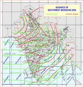 Monsoon covers entire India 12 days before the Normal Date