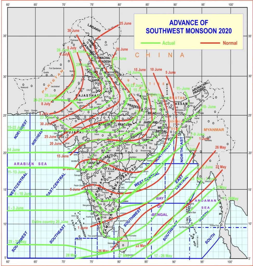 Monsoon covers entire India on 26th June, 2020