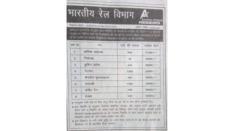 Advertisement by a private agency in a news paper regarding Railway Recruitment : Railways to initiate strict against the agency