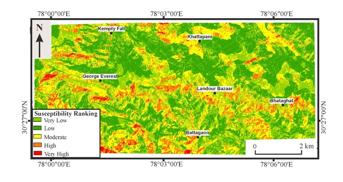 Landslide susceptible map of the Mussoorie Township and its surrounding areas