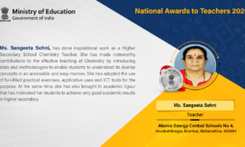 Chemistry Teacher from Mumbai receives National Award for effective teaching, academic rigour and good student performance