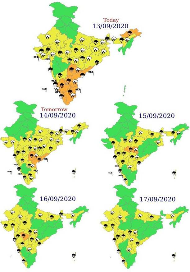 Enhanced rainfall activity over Peninsular India till 17th September, 2020